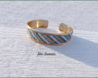 Cuff Bracelet (Bangle) blue, white, turquoise, gold