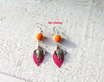 Indian style earrings * pink and Orange * Elephant and leaves