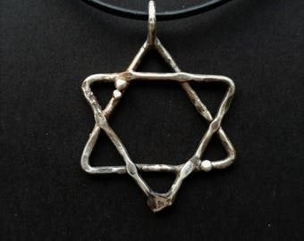 Sterling Silver 925 Star of David on Leather with Sterling Clasp