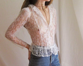 70s Does Victorian Lace Blouse XS S