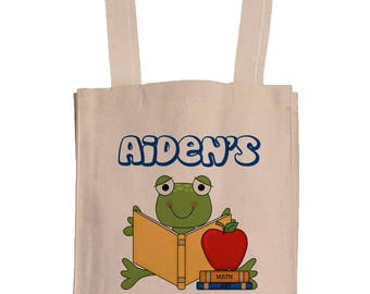 Personalized Canvas Book Bags With Gusset - Canvas Tote Bag - Kids Book Bag - Frog Book Bag