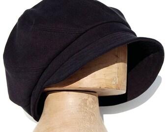 Black baker boy cap, black moleskin cap, peaky blinder cap, womens captain cap,  mens baker boy cap, Black newsboy cap, mens peaked cap