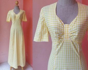 Gingham Dress 70s Dress Plaid Dress Vintage Dress 1970s Dress Women Tartan Dress White Yellow Cotton Maxi Dress Short Sleeve Medium Size 8