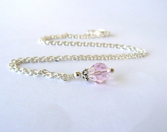 Pink Necklace, Pale Pink Bridesmaid Pendant, Pink Crystal Wedding Jewelry, Vintage Inspired Bridesmaid Jewelry