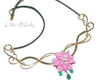 Elven Spring necklace, flower necklace for Elven Wedding, wedding jewelry, elvish jewelry, nature jewelry, bridal necklace, flower jewelry
