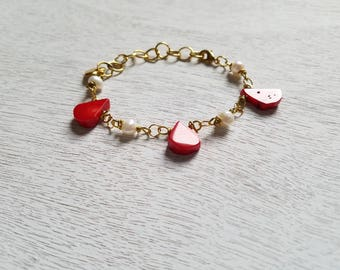 Coral Bracelet, Gold Coral Bracelet, Gold Pearl Bracelet, Gold Pearl Bracelet for Women, Coral and Pearl, Red and White Bracelet, For Women