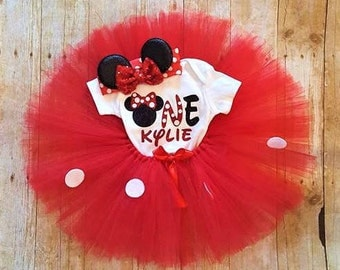 1st Birthday Minnie Mouse outfit/Minnie Mouse Birthday outfit/1st Birthday outfit/1st Birthday set/Minnie Mouse Birthday/Minnie Headband