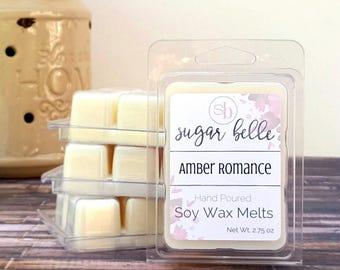 Soy Wax Melts - Natural Wax Melts - Amber Romance - Scented Wax Cubes -  Soy Melts - Soy Wax Tarts - Scented Wax Melts - Candle Melts