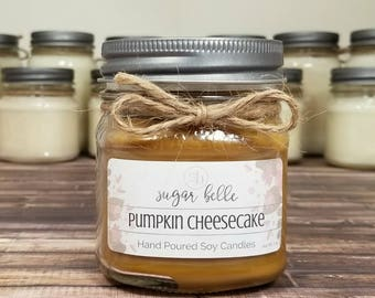 Pumpkin Candle - Fall Scented Candles - Soy Candles Handmade - Mason Jar Candle - Homemade Candles - Thanksgiving Decor - Pumpkin Cheesecake