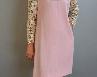 Mod Cotton Pink Dress// Mod 60s Dress// Ribbon Sleeve Shift Dress L