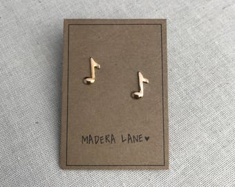 Tiny Music Note Stud Earrings in Gold. Sterling Silver Posts. Music Earring Stud Set. Rock n Roll Studs.