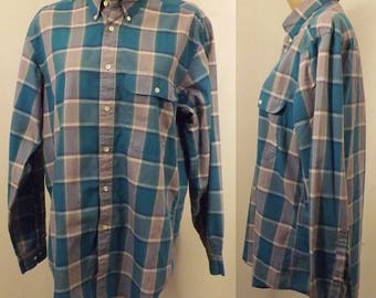 80's Vintage Henry Grethel Gray Green Button Down Men's Shirt Size 16 33