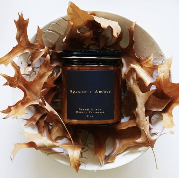 Spruce & Amber - Amber Apothecary jar candle   soy candle   candle gift, home decor