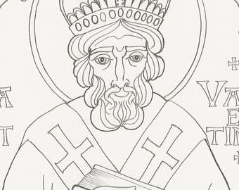 Saint Valentine coloring page, printable art, coloring, Valentine's Day, gift