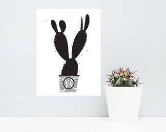 Cactus Print.  Black & White Print. Cool Cactus Illustration