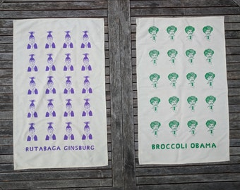 Pair of Tea Towels - 100% Organic Cotton - Made in USA. Rutabaga Ginsburg & Broccoli Obama (1 each or 2 of the same).