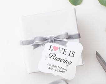 Love is brewing tags (30) - Love is brewing favors - Wedding favor tags - Coffee tags - Wedding gift tags