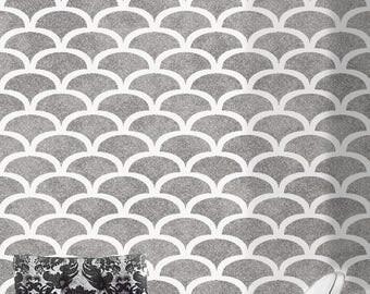 ART DECO Furniture Craft Wall Stencil - 1920's Fan Scallop / Fish Scales - ARTD02