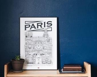 Paris / 32x45 cm / Docteur Paper / Travel With Me / Illustration / Voyage / Affiche / Ville / Décoration murale /Noir et Blanc/ Map / Design