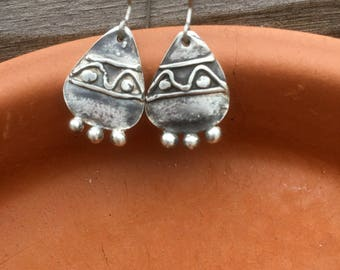 Tear Drop Embossed Fine Silver Hanging Earrings Boho Southwestern Drop Earrings