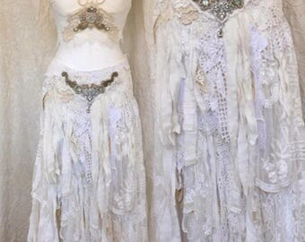 Gypsy wedding skirt tattered, tattered boho skirt white,shabby chic wedding tattered,elven fairytale skirt,gypsy skirt tattered,rawrags eco