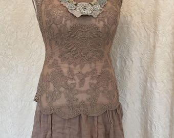 RAW RAGS beautiful one of a kind top. antique vintage laces, upcycled , lace up in the back ,The past incorporated in the present.