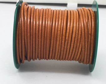 Vintage Cognac 3mm Leather Cord  3mm Round Cord-Soft Vintage Cognac By The Yard LC-6002