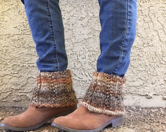 Featured listing image: Ankle Boot Cuffs  --  a loom knit pattern