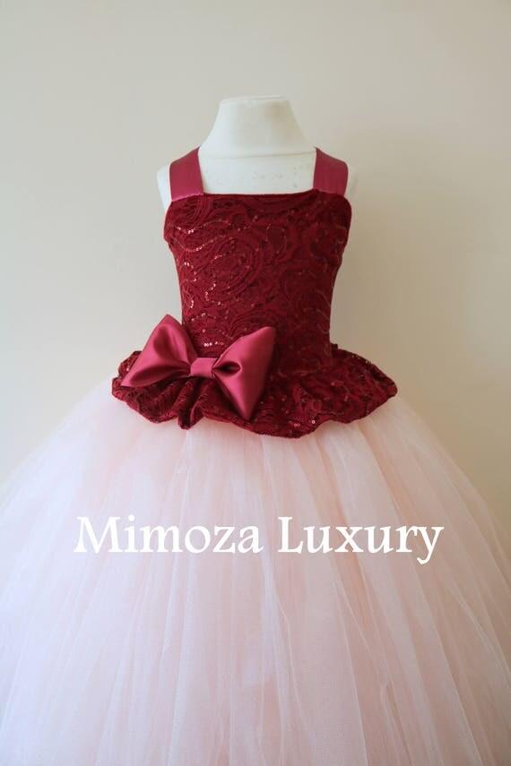 Burgundy Flower Girl Dress, burgundy bridesmaid dress, couture flower girl gown, bespoke girls dress, tulle princess dress, blush tutu