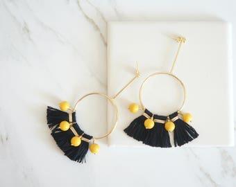 Statement Earrings, Tassel Earrings, Black Mustard Jewelry, Fashion Jewelry, Handmade everyday jewelry, Gift, Trendy jewelry, Geometric