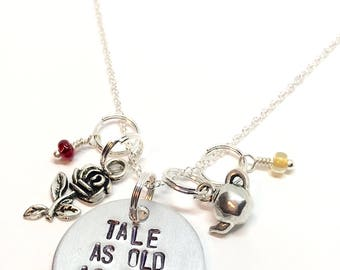 Beauty and the Beast inspired necklace - Tale as Old as Time