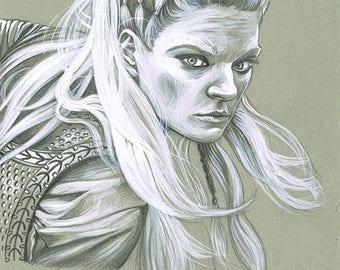 VIKINGS - Lagertha Lothbrok original ink drawing portrait