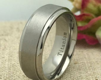 8mm Personalized Titanium Ring, Custom Engraved Promise Ring, Wedding Ring, Couples Ring, Purity Ring, His and Hers Ring, Groomsmen Ring