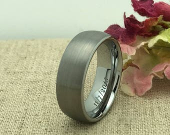 8mm Personalized Tungsten Ring, Custom Promise Ring for Him, Purity Ring, Custom Date Ring, Groomsmen Ring, Friendship Ring, LGBT Ring
