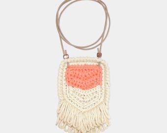 Chevron • Necklace • Crochet Pendant • Colour: TANGERINE + VANILLA