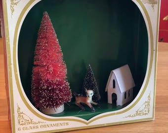 Vintage Christmas Shadow Box / Diorama - Winter Scene with Deer, Trees and House - Shiny Brite