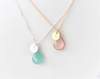 Personalised Gemstone Pendant/Teardrop Gemstone Pendant/Small gemstone Pendant