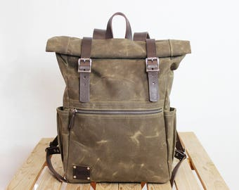 Canvas Backpack/ Leather backpack/ Waxed canvas backpack/Canvas rucksack/ Laptop backpack/ Rucksack Roll top/ Unisex backpack/ Canvas bag