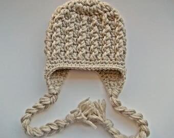 Wool baby hat Baby boy winter hat Baby earflap hat Beige baby hat Newborn boy hat Baby winter outfit Crochet baby boy hat Newborn boy outfit