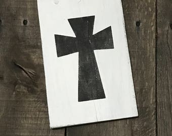 Black Cross,, Easter decor, Easter sign, spring decor, Bunny on reclaimed wood,