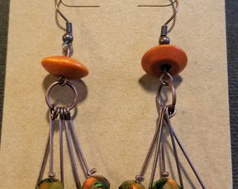 Brassy Bronze Earth-toned Wire Dangle Earrings, Bronze Earrings, Earthy Earrings, Dangle Earrings, Bronze Jewelry