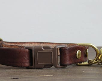 Adjustable Brown Leather Cat Collar - Safety Breakaway Leather Cat Collar - Brass