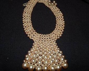 Vintage Pearl Bead Choker Necklace Beige Tan Faux Pearl Bead Choker Bib Necklace