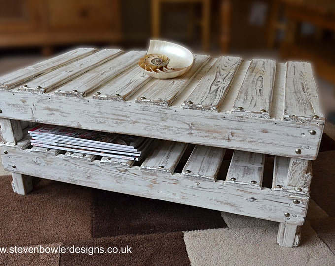 Bespoke Rustic Reclaimed Wood White Coastal Style Coffee Table with Driftwood Finish Decorative Silver Tacks  & Handy Undershelf Storage