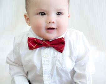 Red Gold and Black Plaid Child's Bow Tie