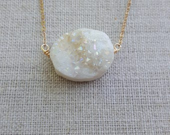 Titanium Druzy on Gold Chain - perfect for layering, handmade necklace, druzy necklace, handmade jewelry, geometric