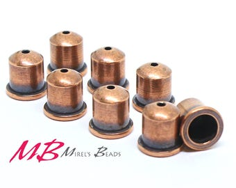 Tierra Cast Cupola End Caps 9mm, Antique Copper Plated, Bracelet End, Kumihimo Style Bracelet End