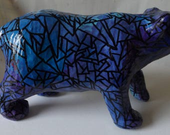 Stained Glass Style Bear Decor