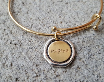 Inspire Bracelet, Gold Stainless Steel Bangle, Inspire Bangle, Expandable Bangle, Adjustable Bracelet, Gold Bracelet