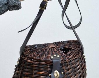Vintage Dark Brown Wicker Basket Bag